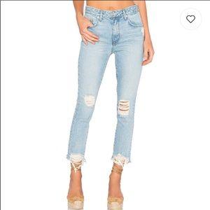 Lovers + Friends tappered light denim jeans 25